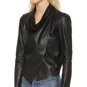 LAMARQUE Madison black leather drape jacket MEDIUM
